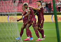 IBAGUE - COLOMBIA, 07-02-2020: Francisco Rodriguez del Tolima celebra después de anotar el tercer gol de su equipo partido entre Deportes Tolima y Envigado F.C. por la fecha 4 de la Liga BetPlay I 2020 jugado en el estadio Manuel Murillo Toro de la ciudad de Ibagué. / Francisco Rodriguez of Tolima celebrates after scoring the third goal of his team during match between Deportes Tolima and Envigado F.C. for the date 4 as part of BetPlay League I 2020 played at Manuel Murillo Toro stadium in Ibague. Photo: VizzorImage / Juan Carlos Escobar / Cont