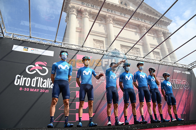 Movistar Team at sign on before the start of Stage 14 of the 2021 Giro d'Italia, running 205km from Cittadella to Monte Zoncolan, Italy. 22nd May 2021.  <br /> Picture: LaPresse/Gian Mattia D'Alberto   Cyclefile<br /> <br /> All photos usage must carry mandatory copyright credit (© Cyclefile   LaPresse/Gian Mattia D'Alberto)