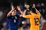 Haraguchi Genki of Japan (L) celebrating with goalkeeper Gonda Shuichi of Japan (R) after winning the AFC Asian Cup UAE 2019 Semi Finals match between I.R. Iran (IRN) and Japan (JPN) at Hazza Bin Zayed Stadium  on 28 January 2019 in Al Alin, United Arab Emirates. Photo by Marcio Rodrigo Machado / Power Sport Images