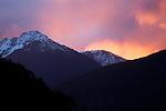 Snow-covered mountains at sunset, South Island, New Zealand