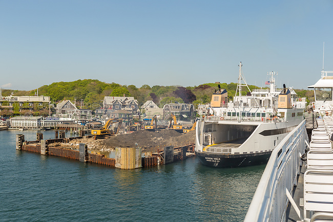 A Steamship Authority ferry passes the construction site of the new ferry terminal in Woods Hole, Massachusetts as it heads for Martha's Vineyard.