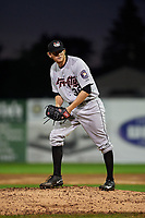 Tri-City ValleyCats relief pitcher Tyler Ivey (41) gets ready to deliver a pitch during a game against the Batavia Muckdogs on July 14, 2017 at Dwyer Stadium in Batavia, New York.  Batavia defeated Tri-City 8-4.  (Mike Janes/Four Seam Images)