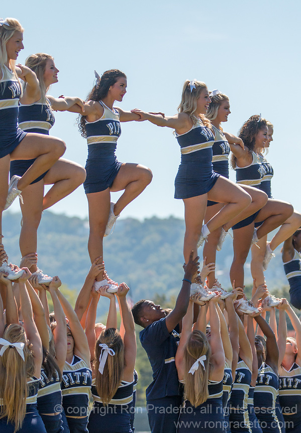 The Pitt cheerleaders perform before the game. The Akron Zips Defeated the Pitt Panthers 21-10 at Heinz Field, Pittsburgh. Pennsylvania on September 27, 2014.