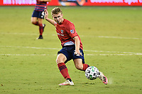KANSAS CITY, KS - SEPTEMBER 02: John Nelson #26 of FC Dallas on the ball during a game between FC Dallas and Sporting Kansas City at Children's Mercy Park on September 02, 2020 in Kansas City, Kansas.