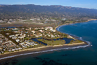 aerial photograph of the University of California Santa Barbara campus, Santa Barbara, California, the Santa Barbara Airport is visible behind UCSB.