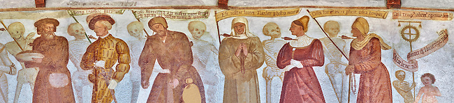 """The Church of San Vigilio in Pinzolo and its fresco paintings """"Dance of Death"""" painted by Simone Baschenis of Averaria in1539, Pinzolo, Trentino, Italy"""