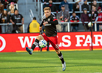 WASHINGTON, DC - MARCH 07: Julian Gressel #31 of DC United controls a high ball during a game between Inter Miami CF and D.C. United at Audi Field on March 07, 2020 in Washington, DC.