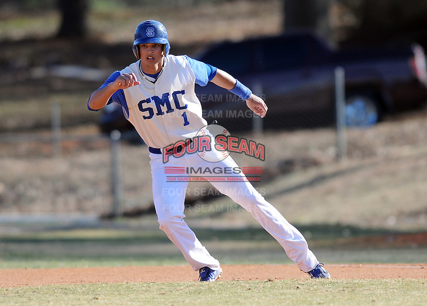 Outfielder Travis Burnside (1) of the Spartanburg Methodist College Pioneers in a game against Patrick Henry Community College on Feb. 19, 2011, in Spartanburg, S.C. Burnside is ranked No. 40 among junior college prospects for 2011. Photo by Tom Priddy/Four Seam Images