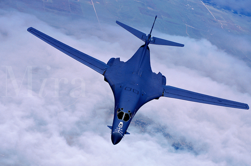 Aerial view of a United States B-1 bomber in flight.