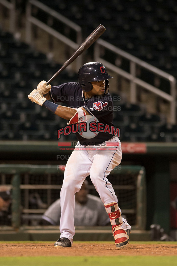 AZL Indians 1 shortstop Marcos Gonzalez (1) at bat during an Arizona League game against the AZL White Sox at Goodyear Ballpark on June 20, 2018 in Goodyear, Arizona. AZL Indians 1 defeated AZL White Sox 8-7. (Zachary Lucy/Four Seam Images)