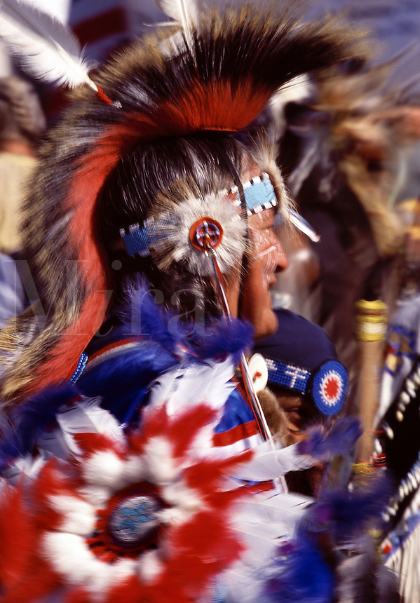 Blurred motion annual Indian Pow Wow Spokane Washington USA.