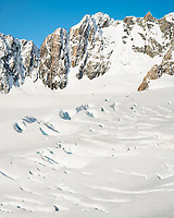 Bristol Top 2891m of Main Divide atop of Explorer Glacier in upper parts of Fox Glacier neve, Westland Tai Poutini National Park, West Coast, UNESCO World Heritage, New Zealand, NZ