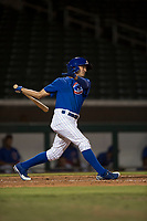 AZL Cubs 1 center fielder Jose Gutierrez (20) follows through on his swing during an Arizona League game against the AZL Cubs 1 at Sloan Park on June 28, 2018 in Mesa, Arizona. The AZL Athletics defeated the AZL Cubs 1 5-4. (Zachary Lucy/Four Seam Images)