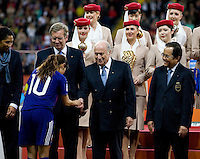 Homare Sawa, Sepp Blatter.  Japan won the FIFA Women's World Cup on penalty kicks after tying the United States, 2-2, in extra time at FIFA Women's World Cup Stadium in Frankfurt Germany.