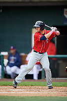 New Hampshire Fisher Cats catcher Ryan Hissey (20) at bat during the first game of a doubleheader against the Harrisburg Senators on May 13, 2018 at FNB Field in Harrisburg, Pennsylvania.  New Hampshire defeated Harrisburg 6-1.  (Mike Janes/Four Seam Images)