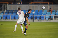 SAN JOSE, CA - SEPTEMBER 5: Oswaldo Alanis #4 of the San Jose Earthquakes goes up for a header under pressure from Cole Bassett #26 of the Colorado Rapids during a game between Colorado Rapids and San Jose Earthquakes at Earthquakes Stadium on September 5, 2020 in San Jose, California.