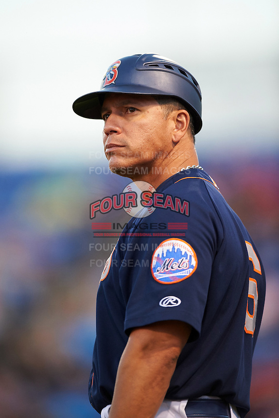Binghamton Mets manager Pedro Lopez (16) during a game against the Trenton Thunder on August 8, 2015 at NYSEG Stadium in Binghamton, New York.  Trenton defeated Binghamton 4-2.  (Mike Janes/Four Seam Images)