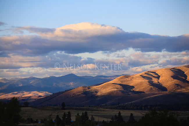 An autumn sunset on the hills in the Bitterroot valley of western Montana