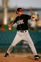 May 19  2007: Greg Burke of the Lake Elsinore Storm pitches against the Lancaster JetHawks at Clear Channel Stadium in Lancaster,CA.  Photo by Larry Goren/Four Seam Images