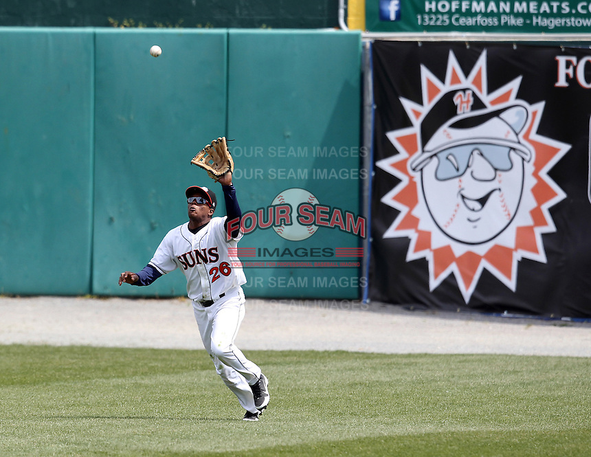Hagerstown Suns outfielder Narciso Mesa #26 catches a fly ball during a game against the Lexington Legends at Municipal Park on April 11, 2012 in Hagerstown, Maryland.  Lexington defeated Hagerstown 3-0.  (Mike Janes/Four Seam Images)