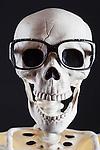 Skeleton Head Shot, black background, cut out