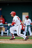 Harrisburg Senators catcher Taylor Gushue (36) follows through on a swing during the first game of a doubleheader against the New Hampshire Fisher Cats on May 13, 2018 at FNB Field in Harrisburg, Pennsylvania.  New Hampshire defeated Harrisburg 6-1.  (Mike Janes/Four Seam Images)