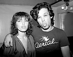 """Pat Benatar and John Mellencamp, known at the time as John Cougar, pose backstage at The Bottom Line in New York City in September 1979. At the time, Benatar had recorded Mellencamp's song """"I Need A Lover"""" for her first album."""