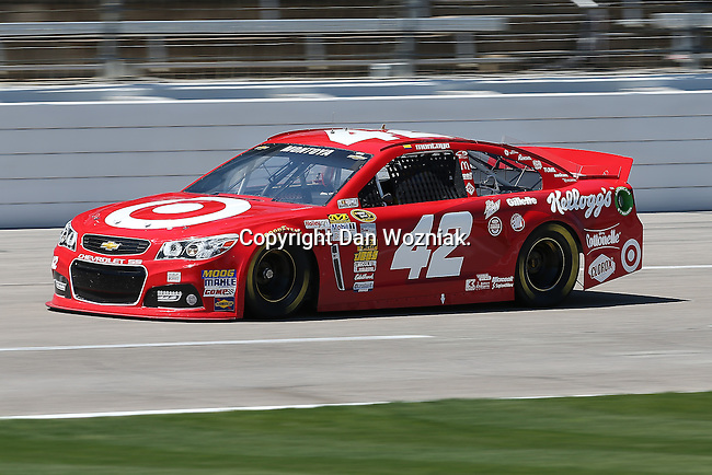 Sprint Cup Series driver Juan Pablo Montoya (42) in action during the Nascar Sprint Cup Series practice session at Texas Motor Speedway in Fort Worth,Texas.