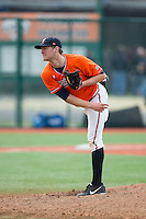 Virginia Cavaliers starting pitcher Connor Jones (33) follows through on his delivery against the Seton Hall Pirates at The Ripken Experience on February 28, 2015 in Myrtle Beach, South Carolina.  The Cavaliers defeated the Pirates 4-1.  (Brian Westerholt/Four Seam Images)