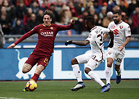 Football, Serie A: AS Roma - Torino, Olympic stadium, Rome, January 19, 2019. <br /> Roma's Nicolò Zaniolo (l) in action with Torino's Nicolas Alexis Julio Nikoulou (c) and Tomas Eduardo Rincon (r) during the Italian Serie A football match between AS Roma and Torino at Olympic stadium in Rome, on January 19, 2019.<br /> UPDATE IMAGES PRESS/Isabella Bonotto
