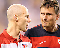 Bob bradley and Lubos Kubik coaches of the USA during an international friendly match against Brazil in Giants Stadium, on August 10 2010, in East Rutherford, New Jersey.Brazil won 2-0.