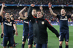 Atletico de Madrid's Koke Resurrecccion, Gabi Fernandez, Lucas Hernandez, Antoine Griezmann and Saul Niguez celebrate the victory in the Champions League 2015/2016 Quarter-Finals. April 13,2016. (ALTERPHOTOS/Acero)