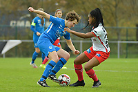 Zulte Waregem's forward Esther Buabadi (R) and Genk's forward Lotte Van Den Steene (L)  pictured during a female soccer game between SV Zulte - Waregem and KRC Genk on the 8 th matchday of the 2020 - 2021 season of Belgian Scooore Women s SuperLeague , saturday 21 th of November 2020  in Zulte , Belgium . PHOTO SPORTPIX.BE | SPP | DIRK VUYLSTEKE