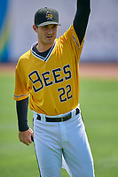 Salt Lake Bees starting pitcher Thomas Pannone (22) warms up in the outfield before the game against the Tacoma Rainiers at Smith's Ballpark on May 16, 2021 in Salt Lake City, Utah. The Bees defeated the Rainiers 8-7. (Stephen Smith/Four Seam Images)