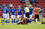 St Johnstone v Dundee United…22.08.21  McDiarmid Park    SPFL<br />Ali McCann argues with referee after being adjudged of fouling Nicky Clarke<br />Picture by Graeme Hart.<br />Copyright Perthshire Picture Agency<br />Tel: 01738 623350  Mobile: 07990 594431