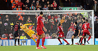 Liverpool's Georginio Wijnaldum (No.5) scores the opening goal past Atletico Madrid's Jan Oblak<br /> <br /> Photographer Rich Linley/CameraSport<br /> <br /> UEFA Champions League Round of 16 Second Leg - Liverpool v Atletico Madrid - Wednesday 11th March 2020 - Anfield - Liverpool<br />  <br /> World Copyright © 2020 CameraSport. All rights reserved. 43 Linden Ave. Countesthorpe. Leicester. England. LE8 5PG - Tel: +44 (0) 116 277 4147 - admin@camerasport.com - www.camerasport.com