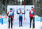Prince George, B.-C., 16 February/2019  - Mark Arendz (right) wins the bronze medal in the men's standing middle distance biathlon on day 01 of the 2019 World Para Nordic skiing Championships in Prince George, B.C. Photo Bob Frid/Canadian Paralympic Committee.