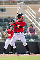 Grant Massey (28) of the Kannapolis Intimidators at bat against the Asheville Tourists at Kannapolis Intimidators Stadium on May 7, 2017 in Kannapolis, North Carolina.  The Tourists defeated the Intimidators 4-1.  (Brian Westerholt/Four Seam Images)