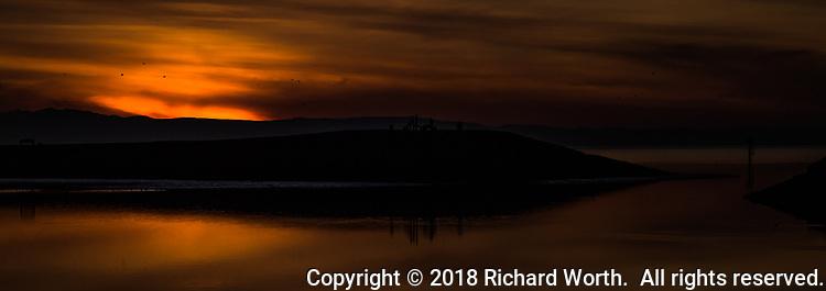 Sunset on San Francisco Bay.  (Enhanced image)