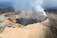 An aerial view of Pu'u O'o Vent, Kilauea Volcano, Hawai'i Volcanoes National Park, Big Island.