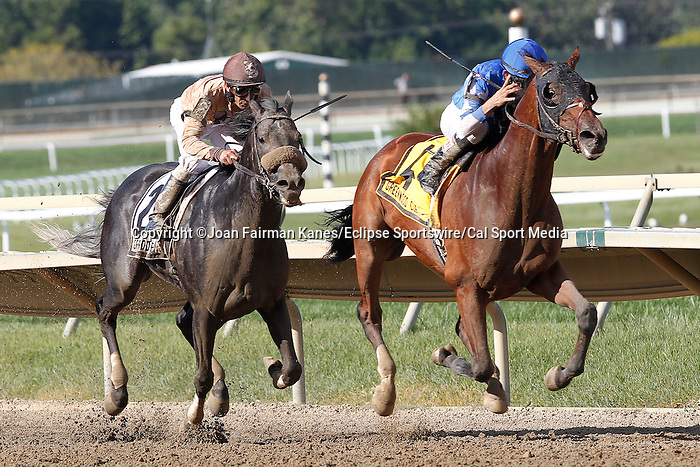 September 1, 2014: Cary Street, Miguel Mena up, wins the grade 3 Greenwood Cup at Parx Racing in Bensalem, PA. Ever Rider (ARG), left, with Kerwin Clark, was second. A gelding by Smarty Jones, Cary Street is trained by Brendan Walsh and owned by JBL Thoroughbreds LLC and Walsh Racing LLC.  ©Joan Fairman Kanes/ESW/CSM