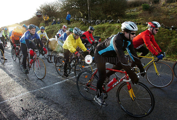 Cyclists get under way at The Burren Charity Challenge at Carron.Pic Arthur Ellis.