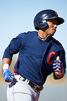 Cleveland Indians Todd Isaacs (29) runs the bases after hitting a home run during an Instructional League game against the Kansas City Royals on October 11, 2016 at the Cleveland Indians Player Development Complex in Goodyear, Arizona.  (Mike Janes/Four Seam Images)