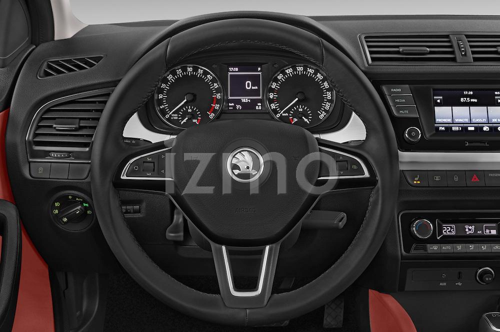 Car pictures of steering wheel view of a 2015 Skoda Fabia Ambition 5 Door Wagon Steering Wheel