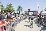 Caja Rural-Suguros RGA arrive at sign on before the start of Stage 7 of La Vuelta d'Espana 2021, running 152km from Gandia to Balcon de Alicante, Spain. 20th August 2021.     <br /> Picture: Unipublic/Charly Lopez | Cyclefile<br /> <br /> All photos usage must carry mandatory copyright credit (© Cyclefile | Charly Lopez/Unipublic)