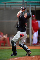 Rutgers Scarlet Knights catcher AJ Gallagher (26) during warmups before a game against the Indiana Hoosiers on February 23, 2018 at North Charlotte Regional Park in Port Charlotte, Florida.  Indiana defeated Rutgers 7-6.  (Mike Janes/Four Seam Images)
