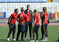 20180307 - LARNACA , CYPRUS :  Belgian team with Lenie Onzia (left) and Justine Vanhaevermaet (middle) pictured before a women's soccer game between  South Africa and the Belgian Red Flames  , on Wednesday 7 March 2018 at the GSZ Stadium in Larnaca , Cyprus . This is the final game in a decision for 5th or 6th place for Belgium during the Cyprus Womens Cup , a prestigious women soccer tournament as a preparation on the World Cup 2019 qualification duels. PHOTO SPORTPIX.BE | DAVID CATRY