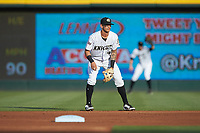 Charlotte Knights second baseman Juan Perez (4) on defense against the Indianapolis Indians at BB&T BallPark on May 26, 2018 in Charlotte, North Carolina. The Indians defeated the Knights 6-2.  (Brian Westerholt/Four Seam Images)