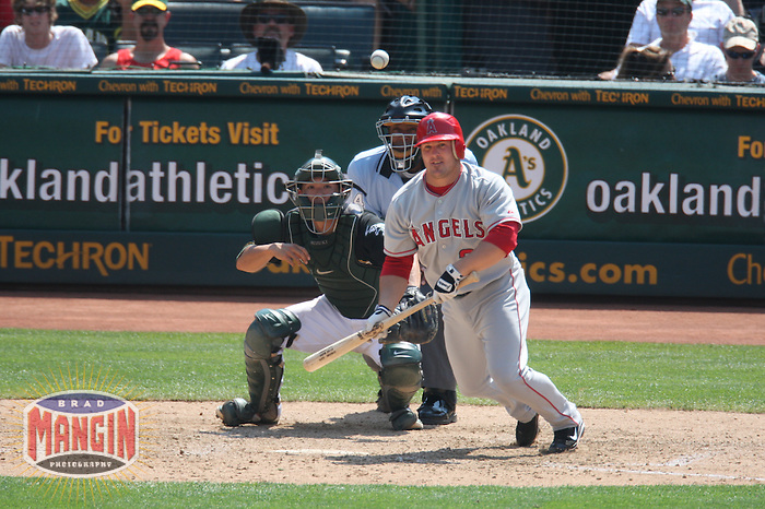 OAKLAND, CA - JULY 13:  Ryan Budde of the Los Angeles Angels of Anaheim bats during the game against the Oakland Athletics at the McAfee Coliseum in Oakland, California on July 13, 2008.  The Angels defeated the Athletics 4-3.  Photo by Brad Mangin