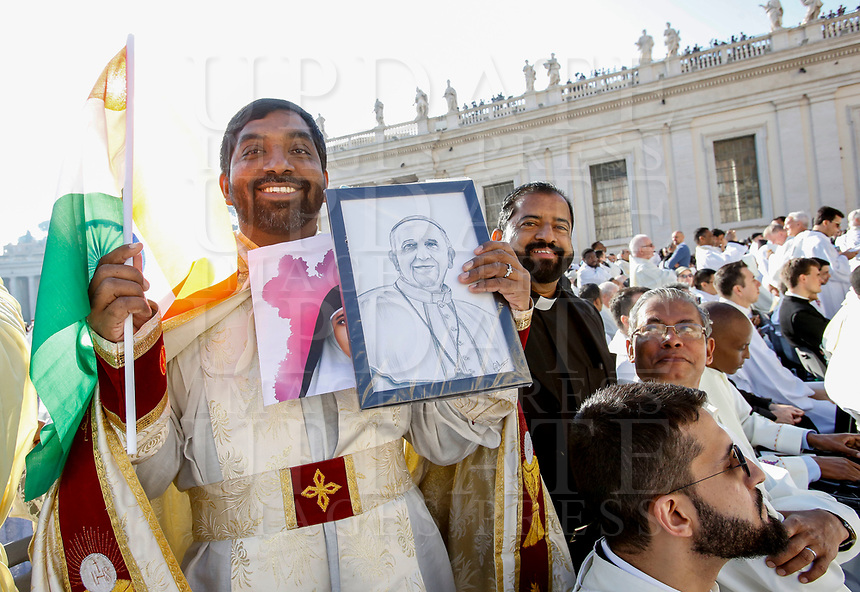 Priests attend a Mass celebrated by the Pope for the canonization of the blessed Giovanni Enrico Newman, Giuseppina Vannini, Maria Teresa Chiramel Mankidiyan, Dulce Lopes Pontes and Margarita Bays, in St. Peter's Square at the Vatican, October 19, 2019. UPDATE IMAGES PRESS/Riccardo De Luca <br /> <br /> STRICTLY ONLY FOR EDITORIAL USE